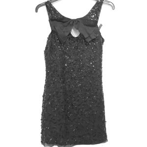 Betsy Johnson Black Sequin Bow Cocktail Dress